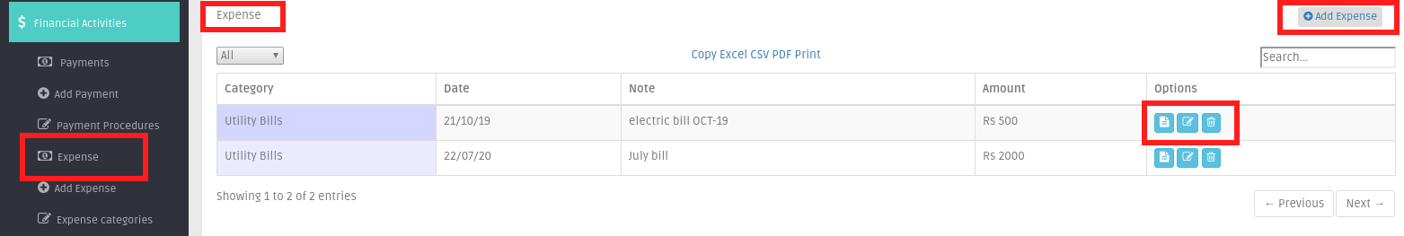 Expense list