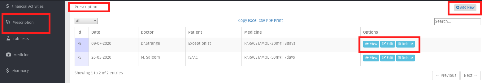 Prescriptions list